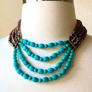 Natural Wood Beaded Necklace Multi-Strand Statement Necklace Boho Chic Style